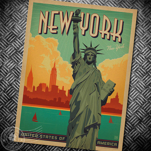 New York Liberty Vintage Poster retro kraft paper poster