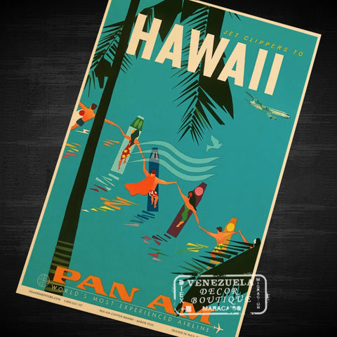 Pop Tropical Island of Hawaii Travel Vintage Retro Kraft Poster