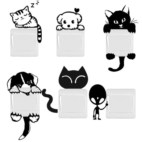 Funny Cute Cat Dog Switch Stickers Wall Stickers
