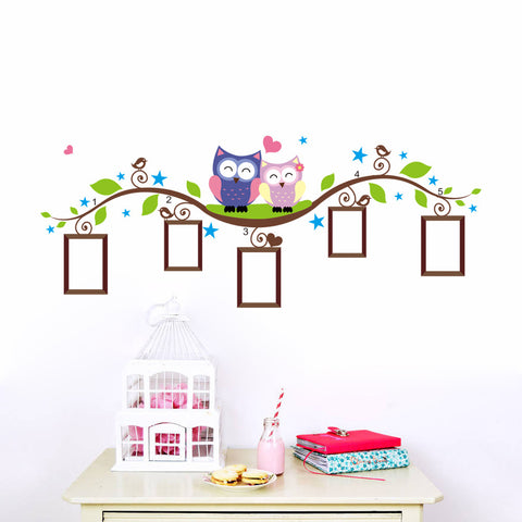 owls photo frame wall stickers home decoration