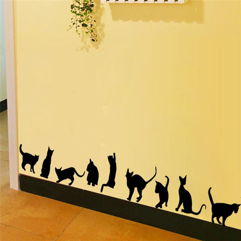 9 cute cats playing wall stickers