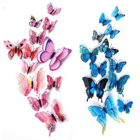 12pcs/bag 3D PVC Double Butterfly Wall Sticker for Home Decoration