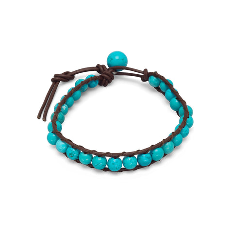"7""+1"" Leather and Magnesite Bracelet"