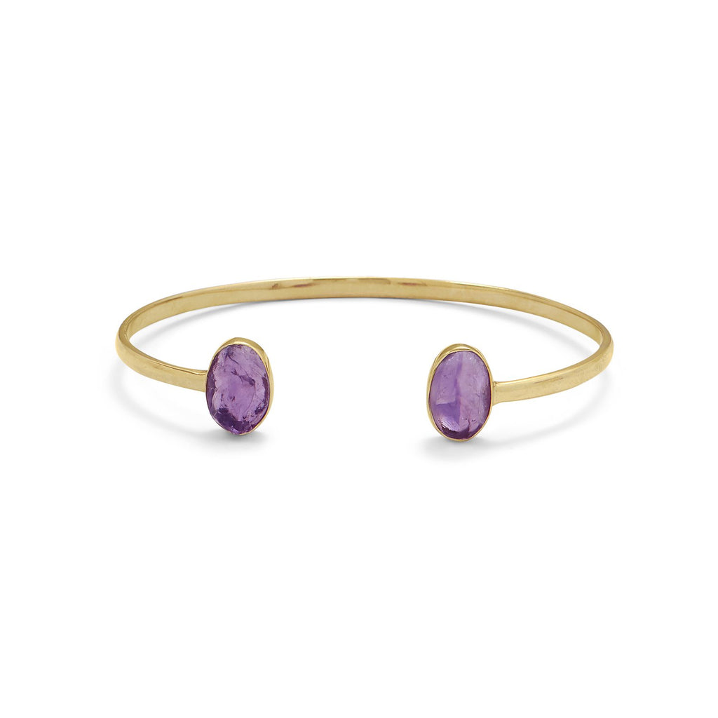 14 Karat Gold Plated Rough Cut Amethyst Split Bangle