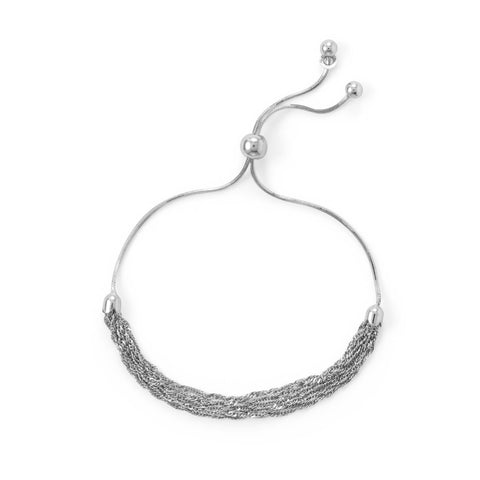 Rhodium Plated Six Strand Chain Bolo Bracelet