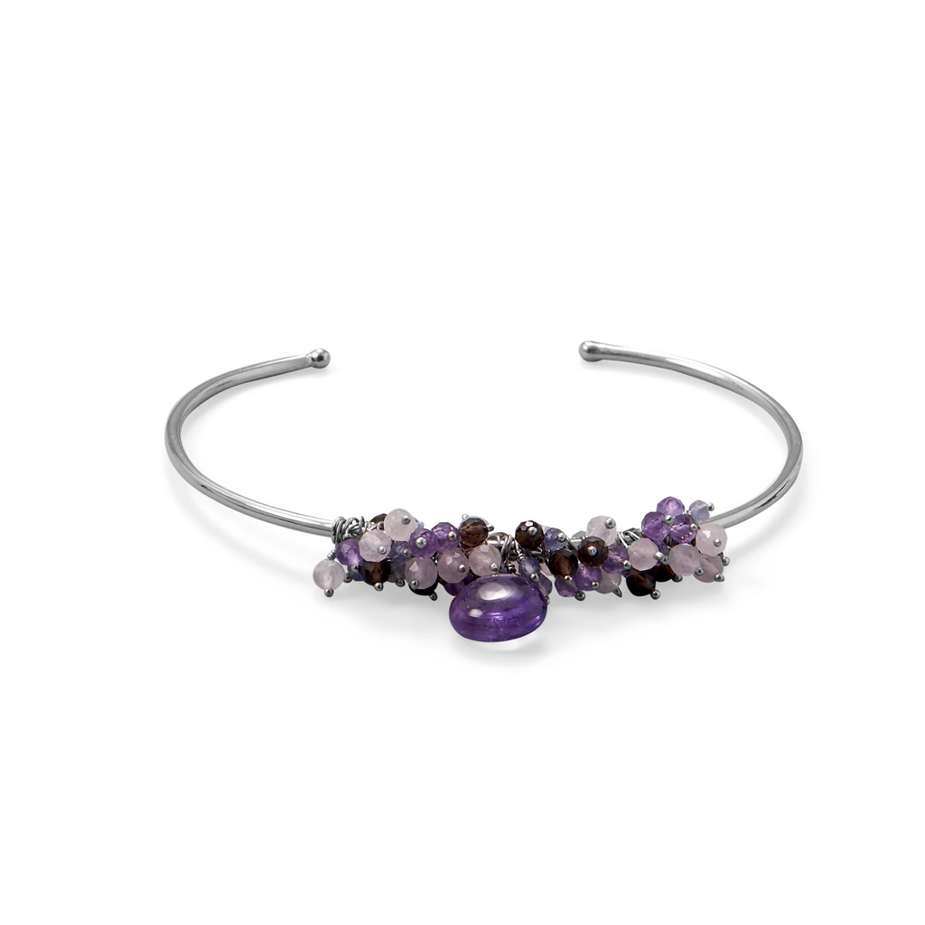 Rhodium Plated Amethyst, Multi Stone Beaded Cuff Bracelet
