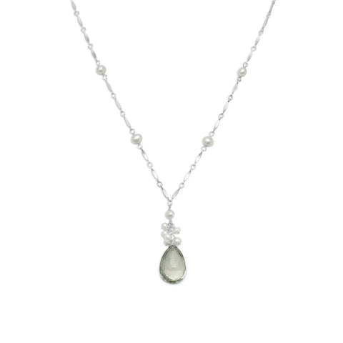 "16""+2"" Extension Green Amethyst and Cultured Freshwater Pearl Necklace"