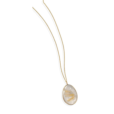 "16""+1""+1"" Extension 14 Karat Gold Plated and Rutilated Quartz Necklace"