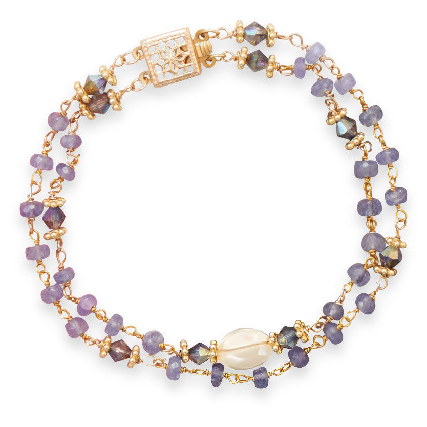 "7"" Double Strand Tanzanite and Citrine Bracelet"