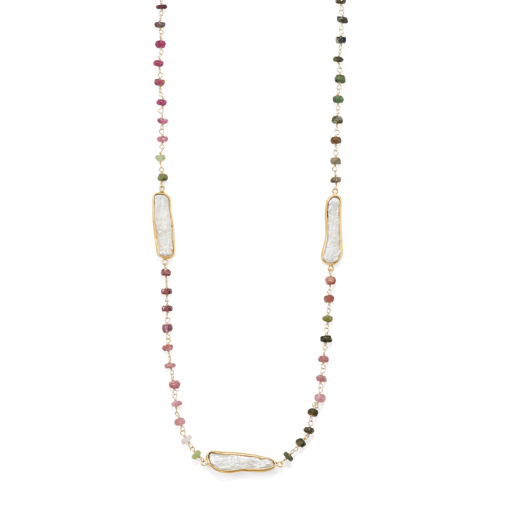 "24"" 14 Karat Gold Plated Tourmaline and Cultured Freshwater Pearl Necklace"