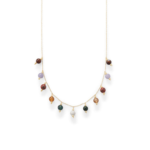14 Karat Gold Plated Multi Stone Charm Necklace