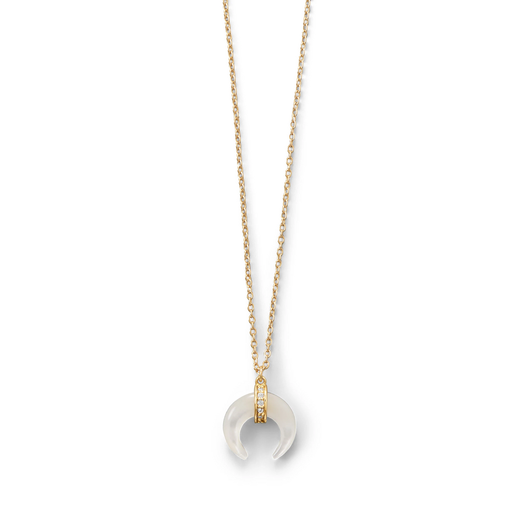 Mother of Pearl and CZ Crescent Gold Plated Necklace