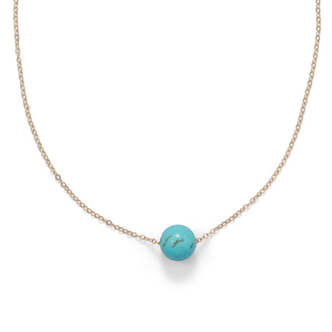 "16"" + 2"" Gold Filled Magnesite Necklace"