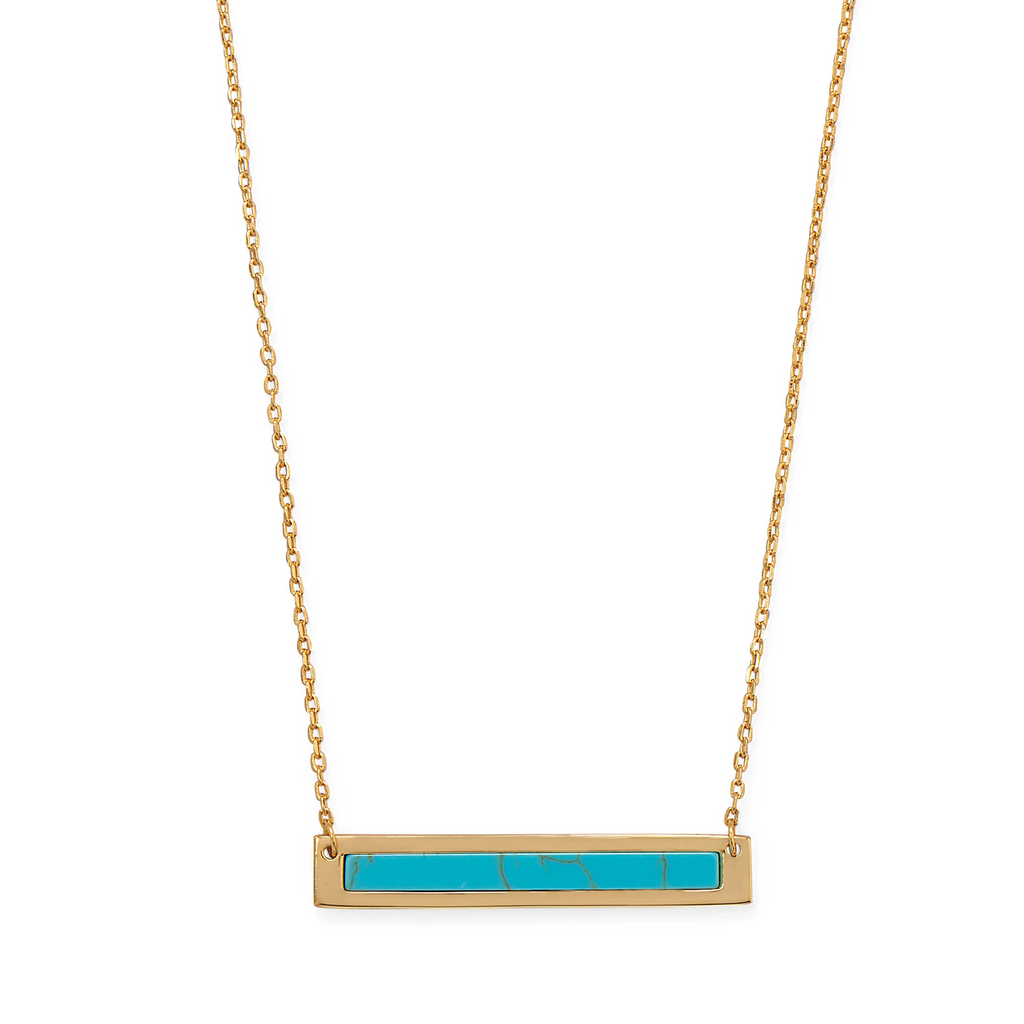 "16""+2 14 Karat Gold Plated Turquoise Bar Necklace"