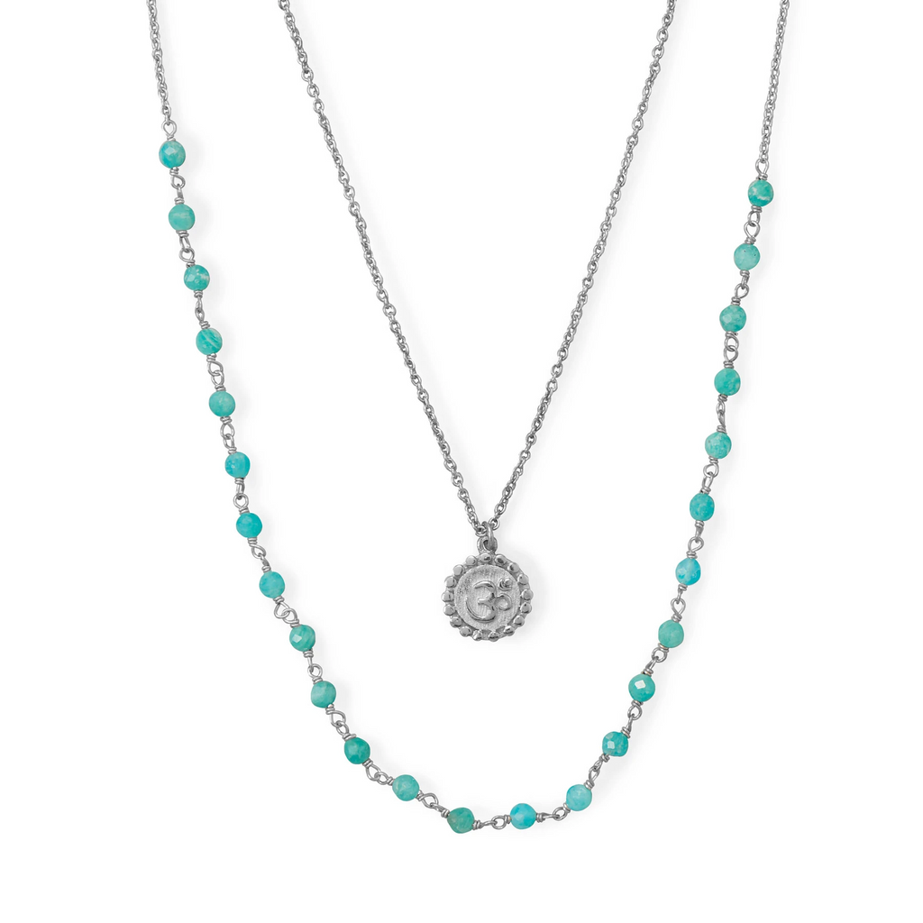 "18""+21""+2 Rhodium Plated Amazonite Om Necklace"