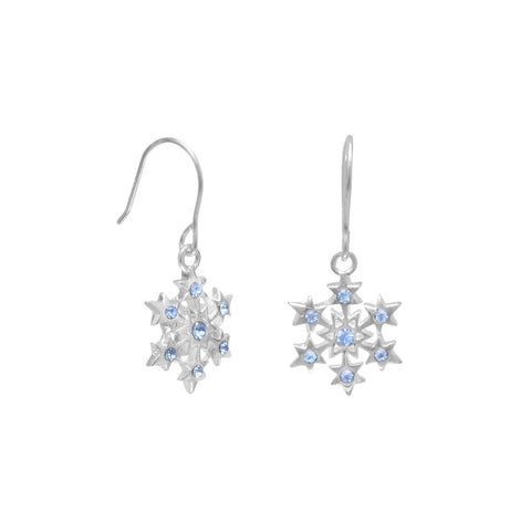 Small Aqua Crystal Snowflake Earrings on French Wire