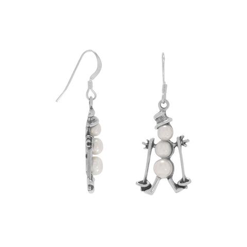 Cultured Freshwater Pearl Skiing Snowman Earrings