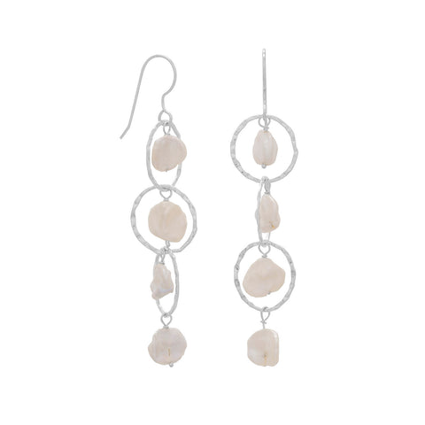 Open Circle Keishi Drop French Wire Earrings