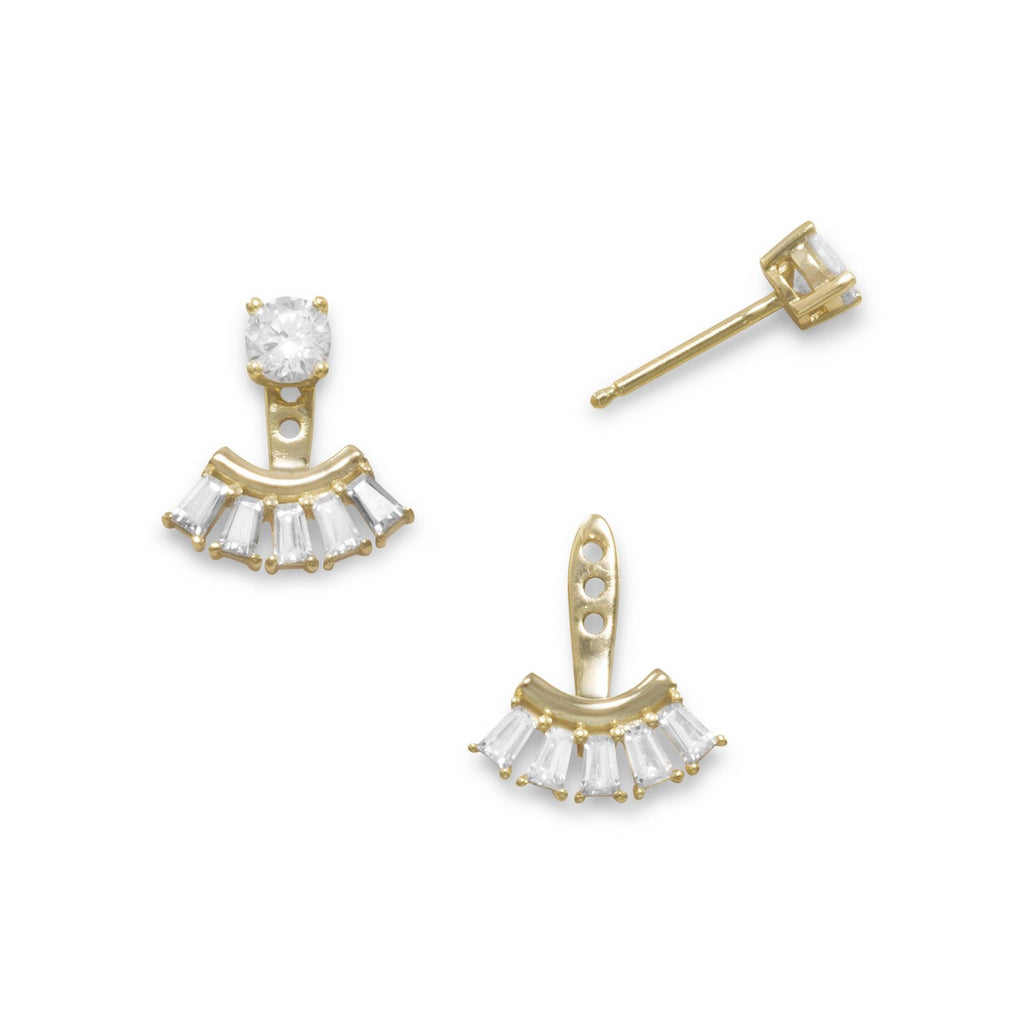 14 Karat Gold Plated Multishape CZ Front Back Earrings