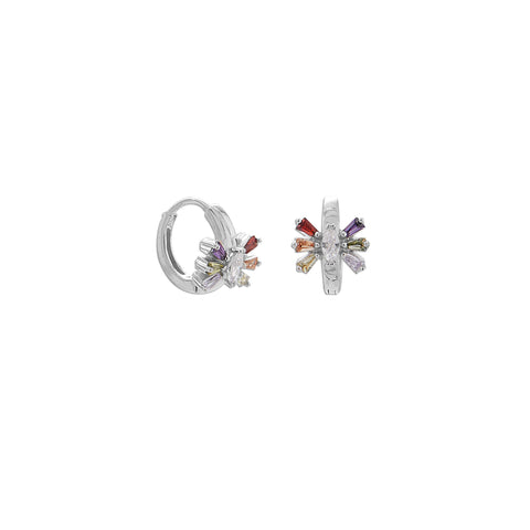 Rhodium Plated Multi Color CZ Huggie Hoop Earrings