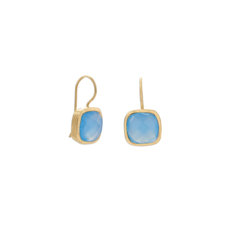 14 Karat Gold Plated Blue Chalcedony Wire Earrings