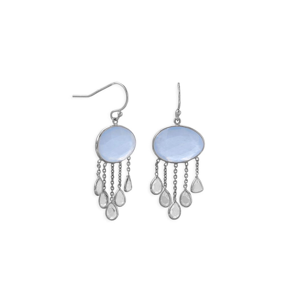 Rhodium Plated Chalcedony and White Topaz Drop Earring