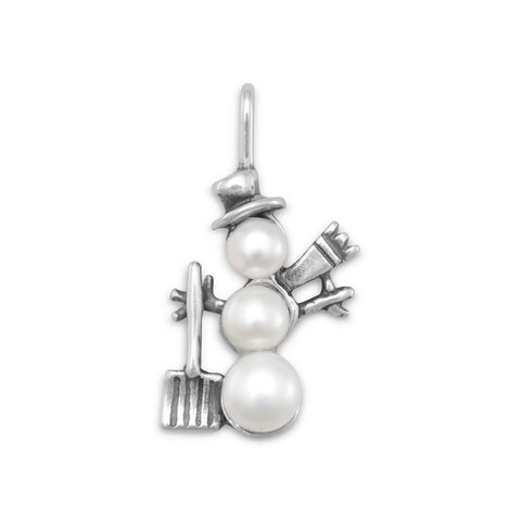 Cultured Freshwater Pearl Snowman Charm