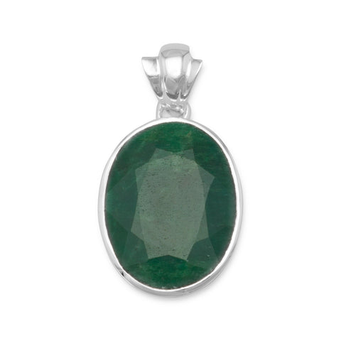 Oval Faceted Rough-Cut Emerald Pendant