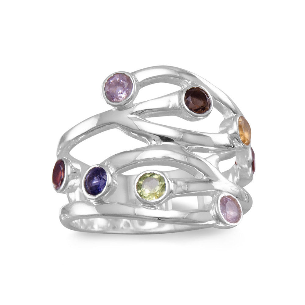 Multistone Open Design Ring