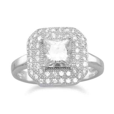 Rhodium Plated Ring with Square CZ