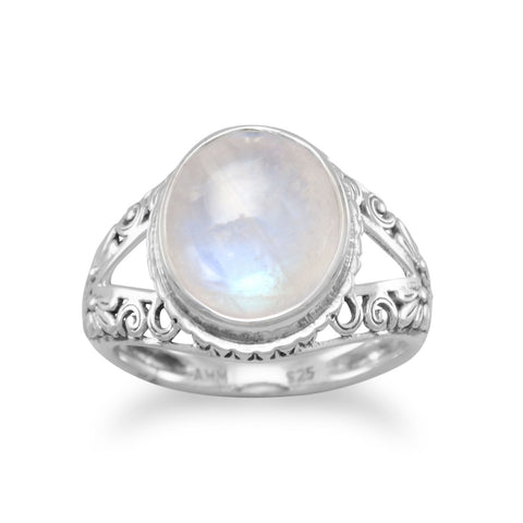 Oxidized Ornate Rainbow Moonstone Ring