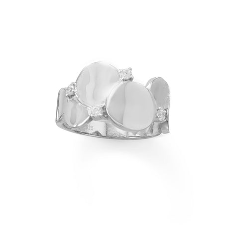 Rhodium plated Shiny Bubble CZ Ring