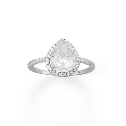 Rhodium Plated Pear CZ Ring with CZ Edge
