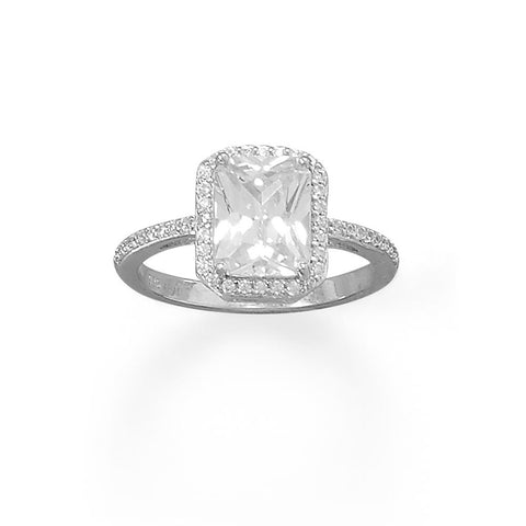 Rhodium Plated Cushion CZ Ring with CZ Edge
