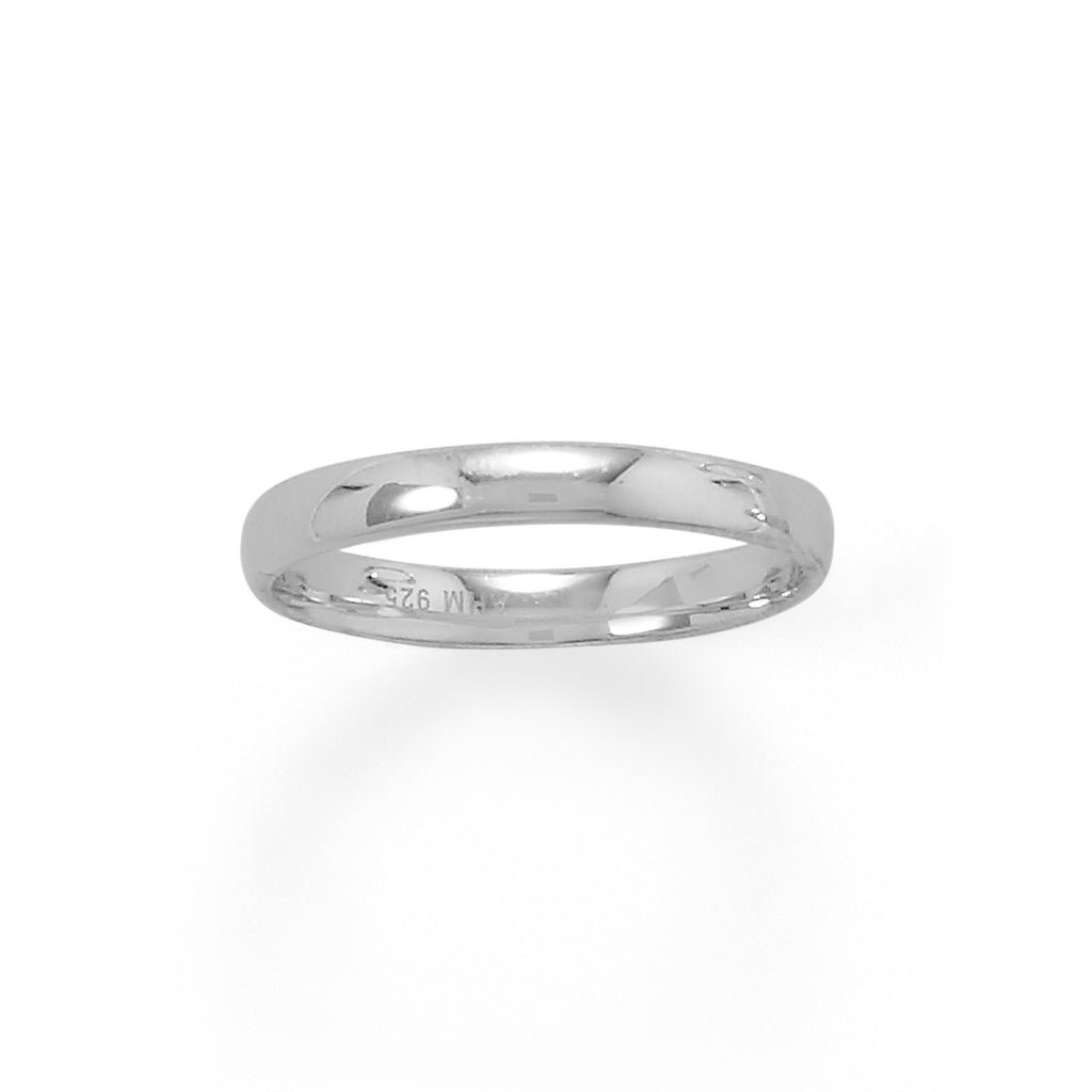 Rhodium Plated 3mm Band