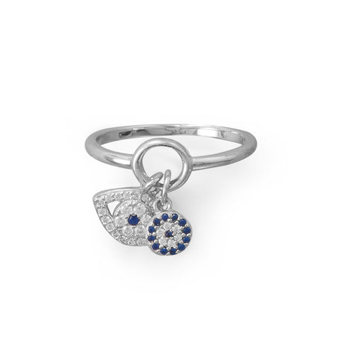 Rhodium Plated Evil Eye Charm Ring