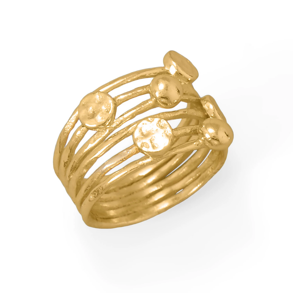 14 Karat Gold Plated 6 Row Disc Ring