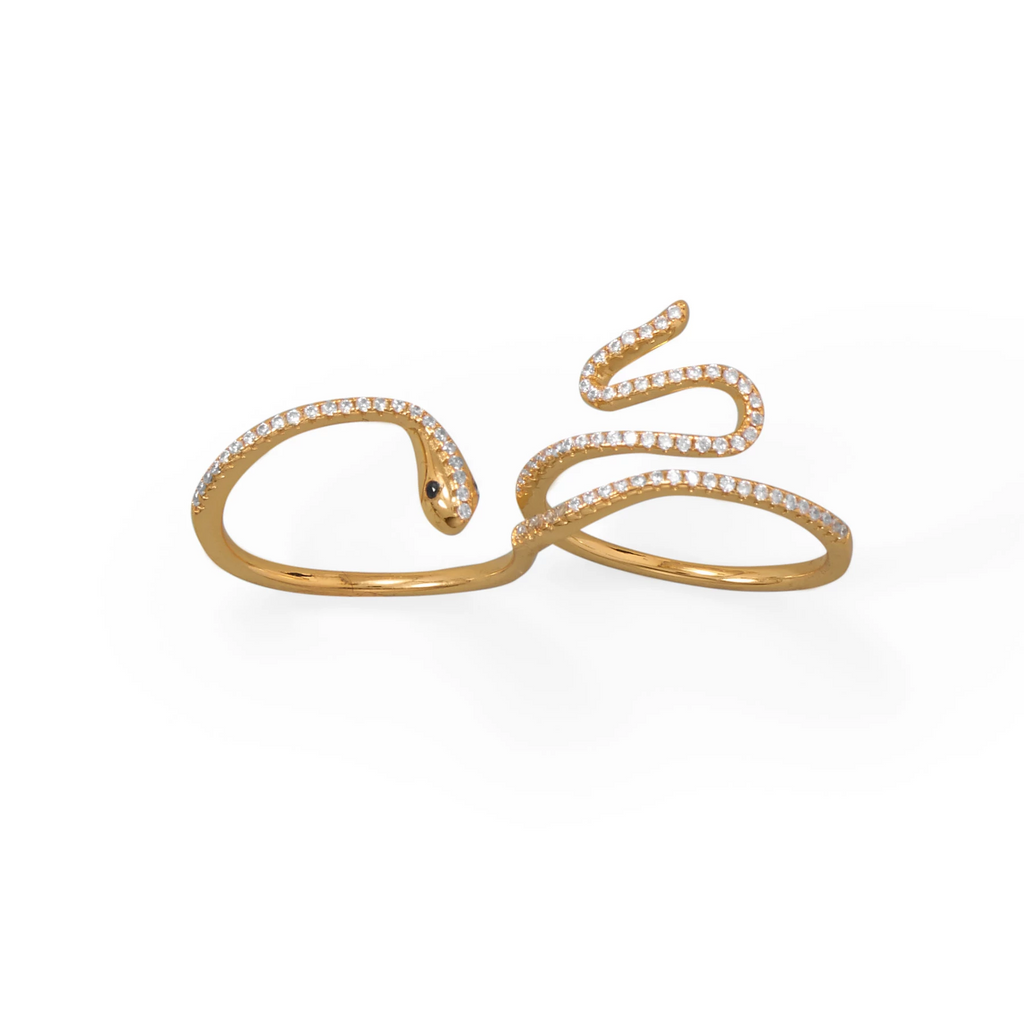 14 Karat Gold Plated CZ Wrap Snake Ring