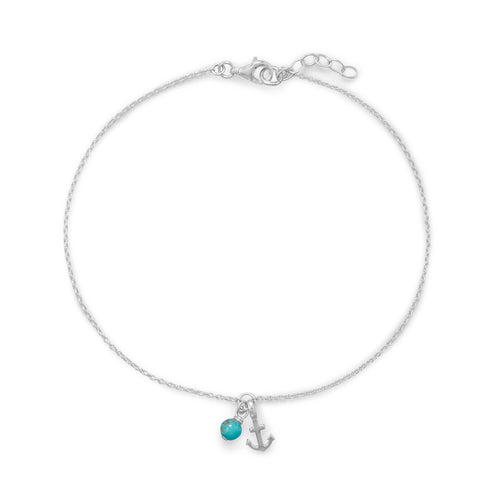 "9.25""+.75"" Anchor and Turquoise Anklet"
