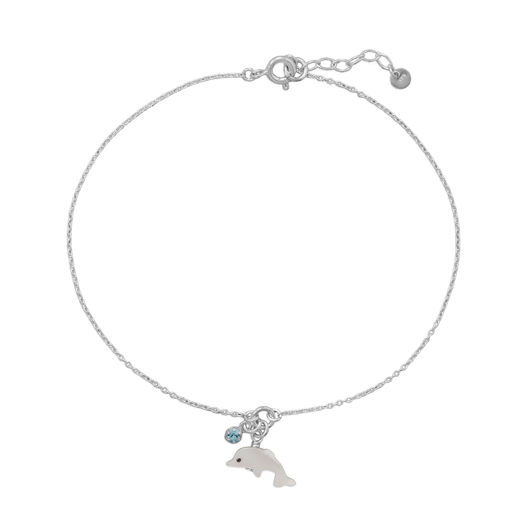 "9.5""+1"" Dolphin and Crystal Anklet"