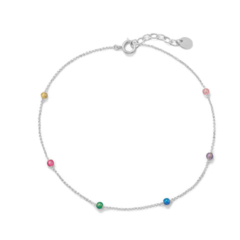 "9.25""+1"" Muli Color Beaded Anklet"