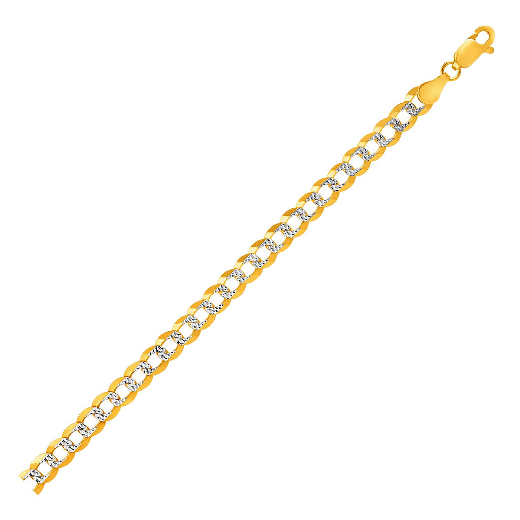 5.7mm 14k Two Tone Gold Pave Curb Bracelet