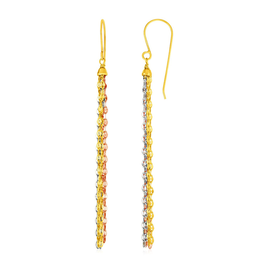 14k Tri Color Gold Three Toned Chain Dangle Earrings