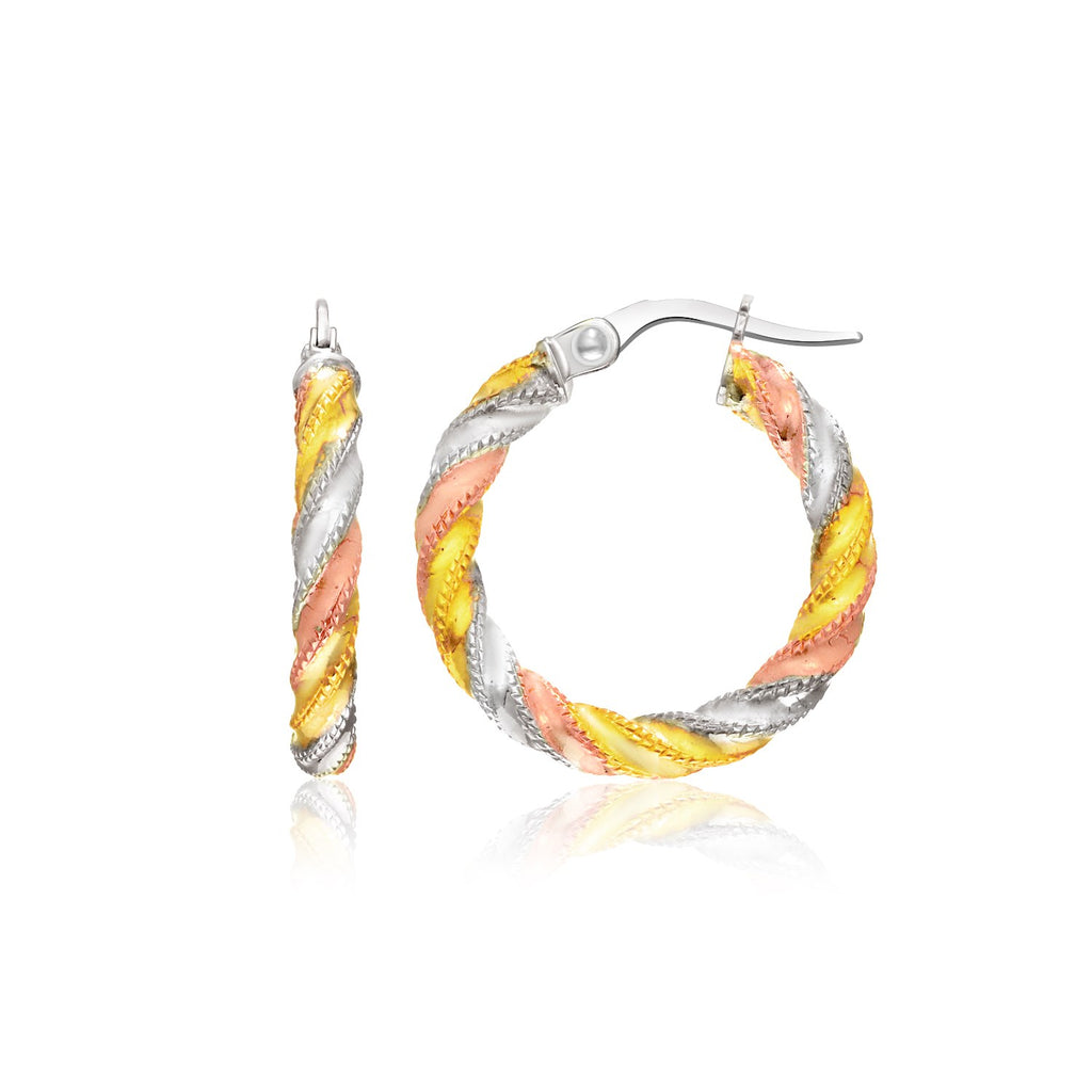14k Tri-Color Gold Hoop Earrings with a Spiral Design