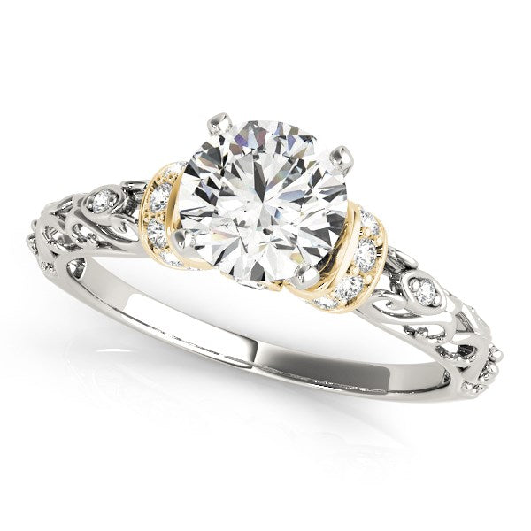 14k White And Yellow Gold Antique Style Diamond Engagement Ring (1 1/8 cttw)