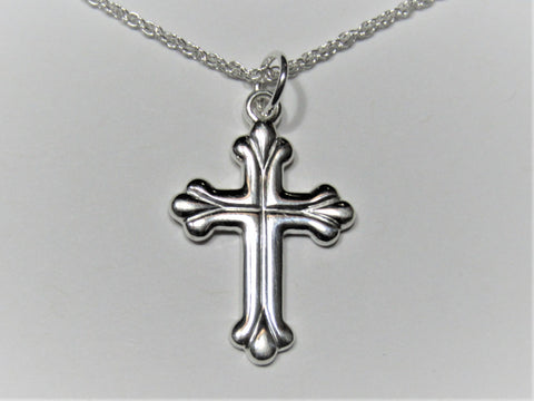 Hand-Crafted Sterling Silver Rope Cross Necklace