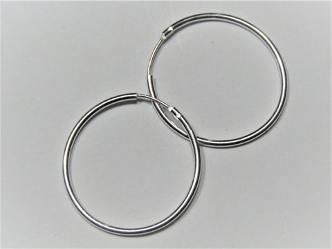 Sterling Silver Endless Tubular Hoop w/Hinged Wire