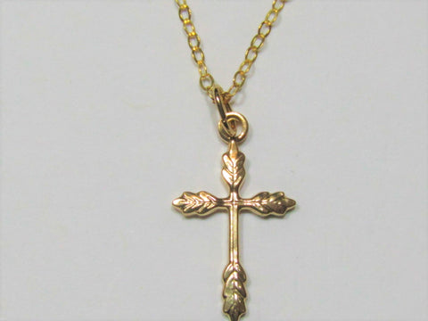 Hand-Crafted Ornate Gold-Filled Cross Necklace