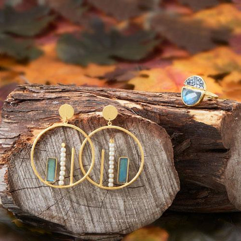 14 Karat Gold Plated Brass Labradorite and Cultured Freshwater Pearl Fashion Earrings