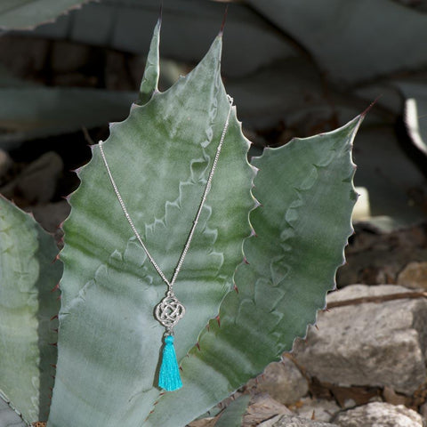 Silver Tone Celtic Charm and Aqua Tassel Necklace